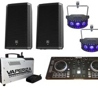 DJ party pack with speakers, lighting, DJ controller and smoke machine