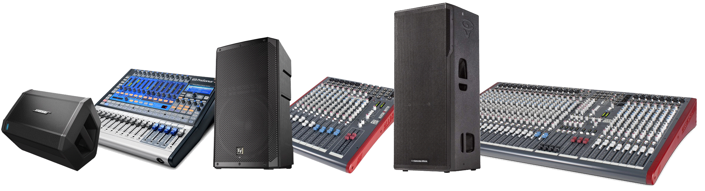 PA equipment including speakers and mixers