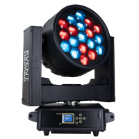 EVENT LIGHTING M19IPW40RGBW - 19x 40 W RGBW Outdoor Wash Zoom Head with Pixel Control $5,090.00 Select variant The M19IPW40RGBW is an IP rated moving head fixture featuring 19x 40 W RGBW 4-in-1 LEDs. Features include motorised zoom from 4~36°, various preset colour temperatures and Seetronic® outdoor 5-pin XLR in/out plus Ethernet. Photometrics Light Source: 19x Osram® 40 W RGBW 4-in-1 LED Beam Angle: 4~36° Output: 13,000 lumen, 99,943 lux @ 3 m RGBW at 4°, 5,740 lux @ 3 m RGBW at 36° PWM: 1,200 Hz LED Lifespan: 60,000 hours Effects Dimming: 0~100% Pixel Control: Yes Strobe: 0.5~26 Hz Zoom: Motorised 4 - 36° Movement 16 – bit, Auto-reposition Pan: 630° (1.56 sec) / 540° (1.3 sec) Tilt: 265° (0.85 sec) Power Input Voltage: 100~240 V AC, 50/60 Hz, 615 W Connection: Seetronic® Outdoor True1 in Control Operation Modes: DMX, auto, sound active, master/slave Preset colour temperature at 2000k-2700K, 3200K, 4200K, 5600K and 8000K Protocol: DMX512, RDM, Ethernet (optional: W-DMX™) DMX Channels: 22 / 99 / 19 /21 Interface: Seetronic® outdoor 5-pin XLR in/out, ethernet in/out Display: 2.4″ colour LCD control panel with auto lock Software Upgrade via DMX: Yes Housing Materials: Die-cast Aluminium & Steel, matte black finish Cooling: Multi-sensor thermostat controlled variable speed fan IP rating: IP65 Net Weight: 31 kg Rigging: 2x omega brackets with 1/4-turn quick locks
